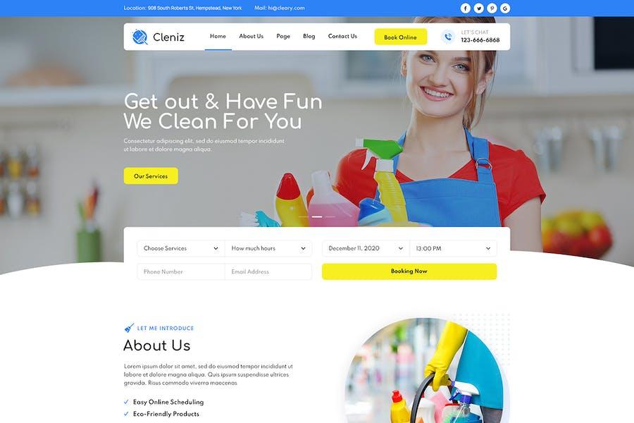 Cleniz - Template Kit Elementor de Servicios de Limpieza