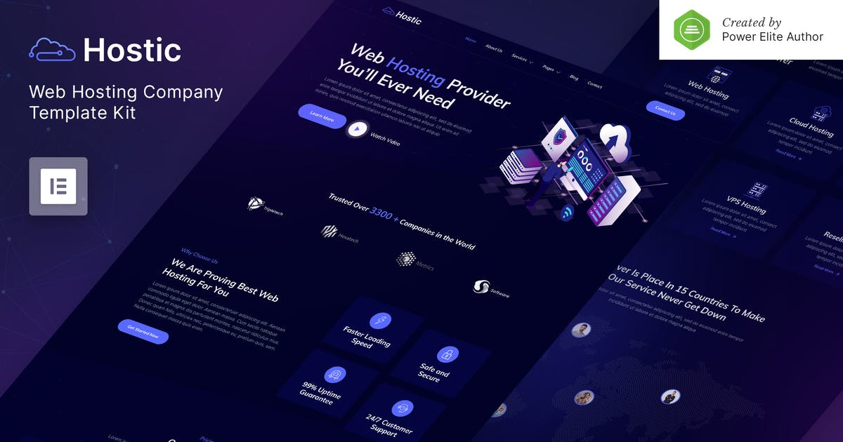 Download Hostic – Web Hosting Company Elementor Template Kit by jegtheme