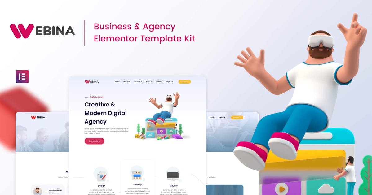 Download Webina - Business Agency & Startup Elementor Template Kit by rootlayers