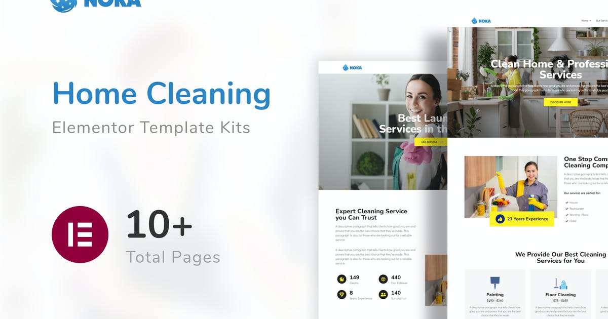 Download Noka - Cleaning Company Service Template Kit by elmous