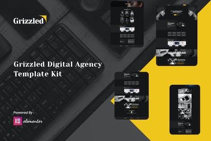 Grizzled - Digital Agency Dark Elementor Template Kit