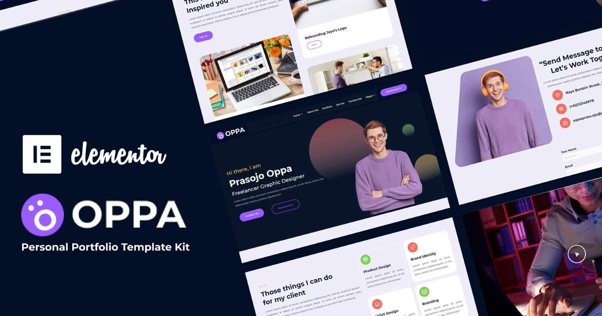 Download Oppa - Personal Portfolio Elementor Template Kit by nathatype