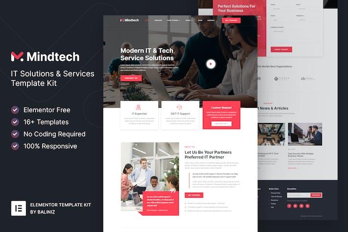 Mindtech — Template Kit Elementor de la empresa de soluciones y servicios de TI
