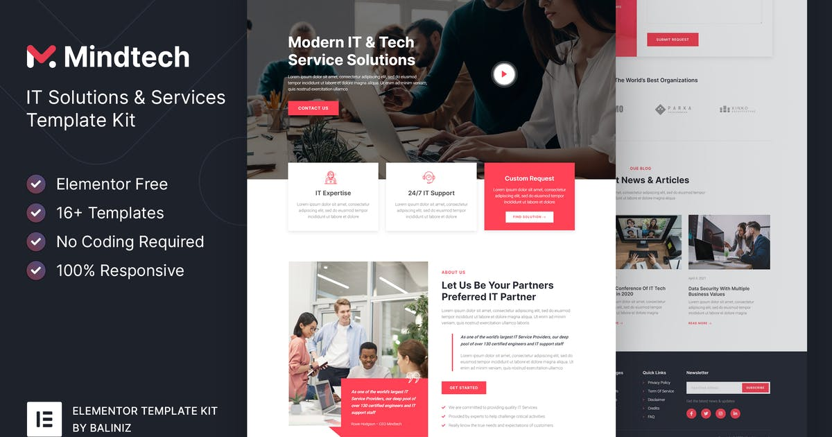 Download Mindtech – IT Solutions & Services Company Elementor Template Kit by baliniz