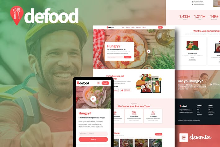 DeFood - Food Delivery Elementor Template Kit