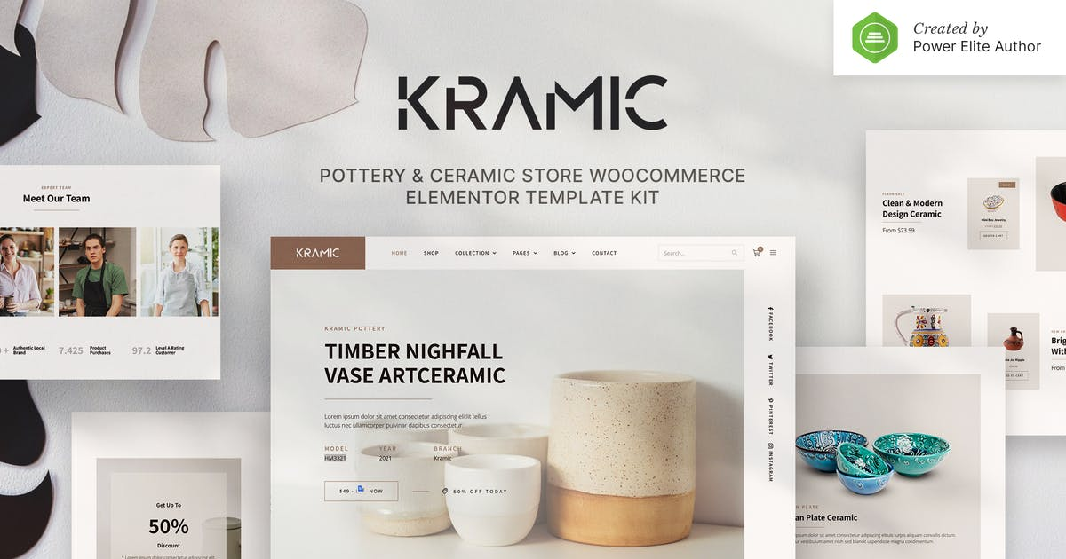Download Kramic – Pottery & Ceramic Store WooCommerce Elementor Template Kit by jegtheme