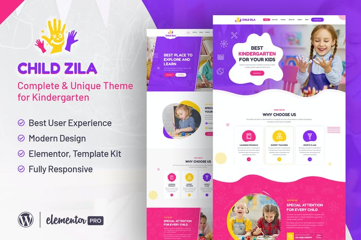 ChildZilla - Kindergarten & Childcare Elementor Template Kit