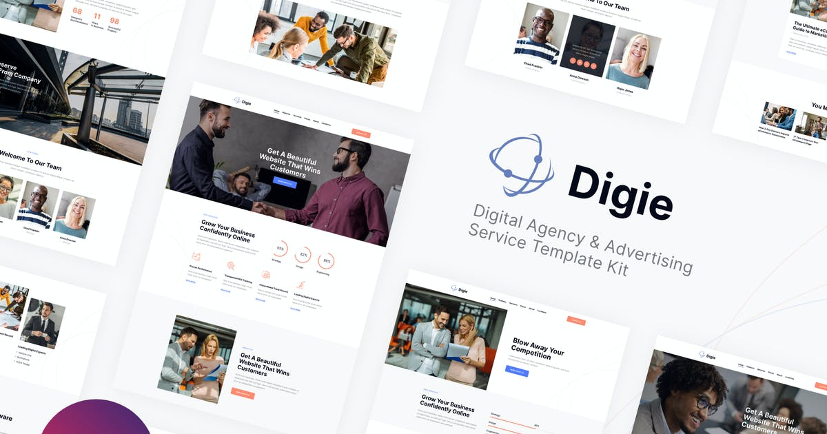 Download Digie | Digital Agency & Advertising Service Elementor Template Kit by ThemeREX
