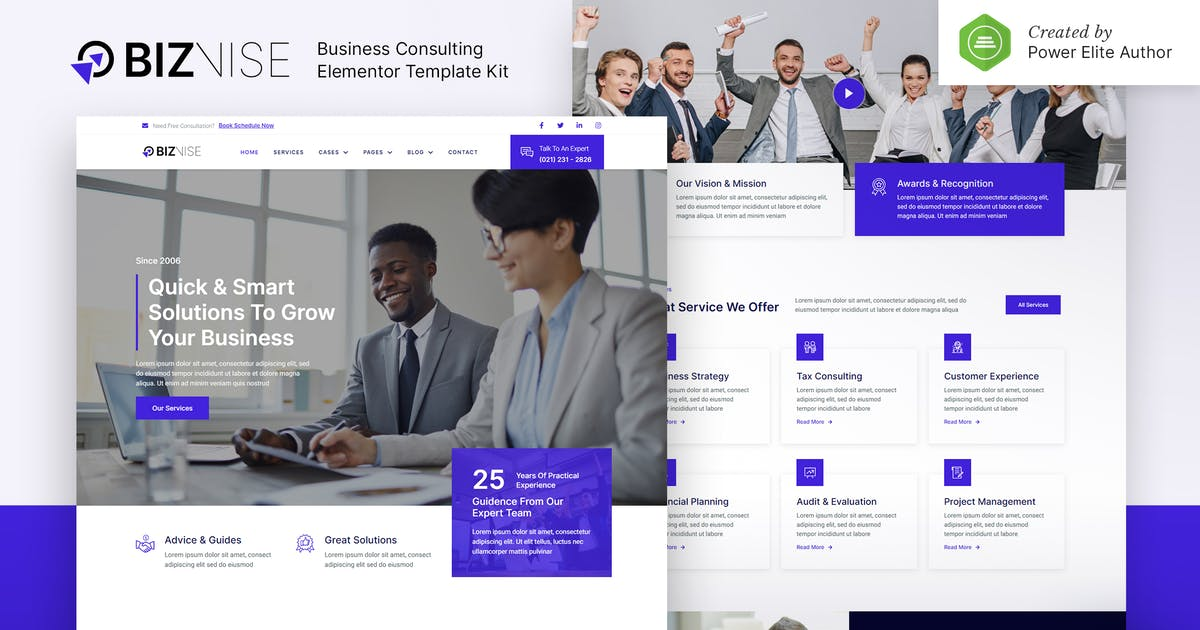 Download Biznise – Business Consulting Elementor Template Kit by jegtheme