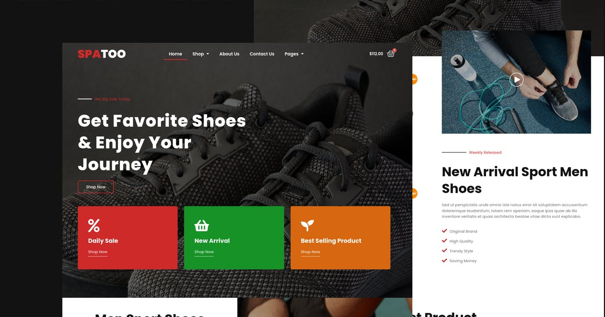 Download Spatoo - Modern Shoes eCommerce Elementor Template Kit by wirastudio