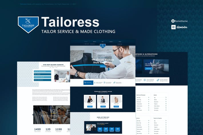 Tailoress - Tailor Service & Made Elementor Template Kit