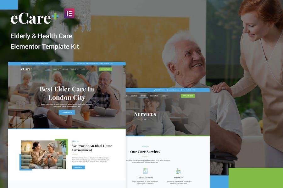 eCare - Elementor Template Kit für ältere Menschen und Gesundheitswesen