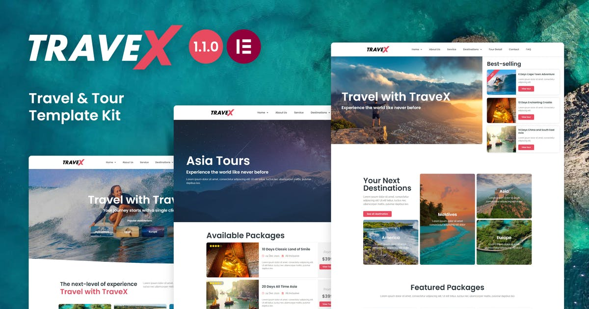 Download TraveX - Travel & Tour Agency Elementor Template Kit by CoombCo