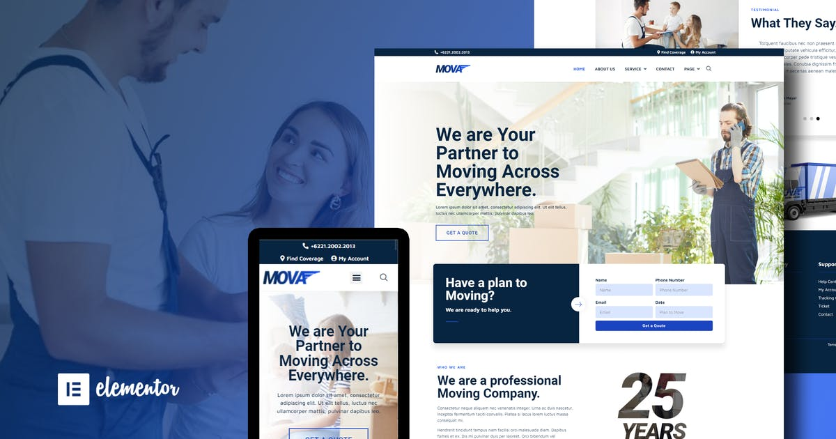 Download Mova - Moving Company Elementor Template Kit by moxcreative
