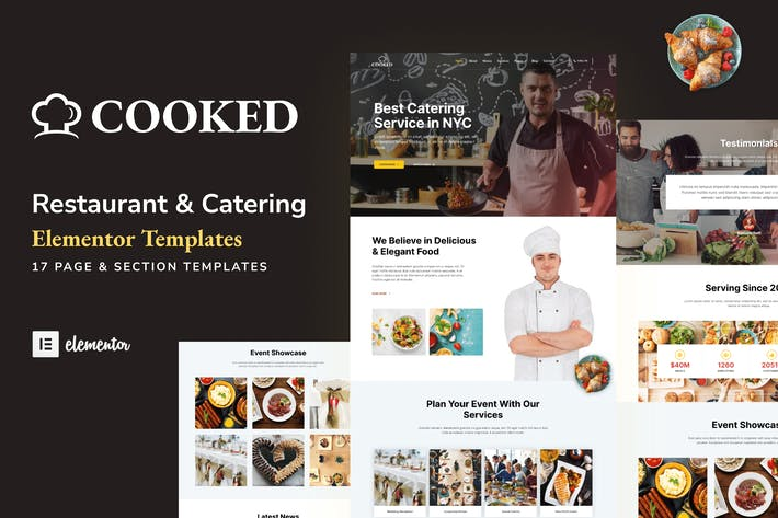 Cooked - Catering & Restaurant Website Elementor Template Kit
