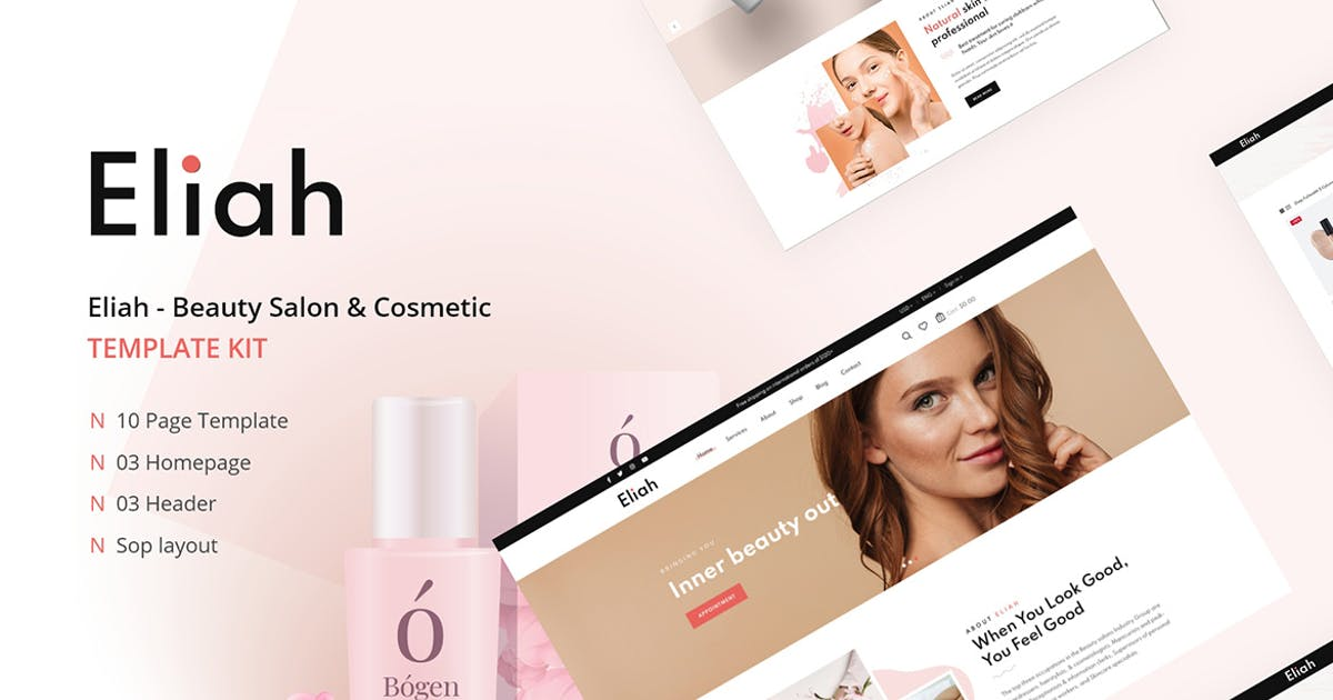 Download Eliah - Beauty Salon & Cosmetic Elementor Template Kit by themesflat