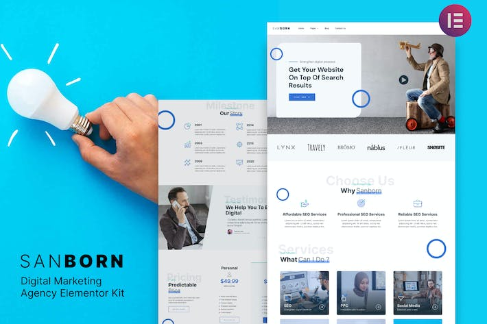 Sanborn - Digital Marketing Agency Elementor Template Kit