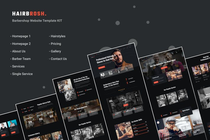 Hairbrosh | Barbershop Elementor Template Kit