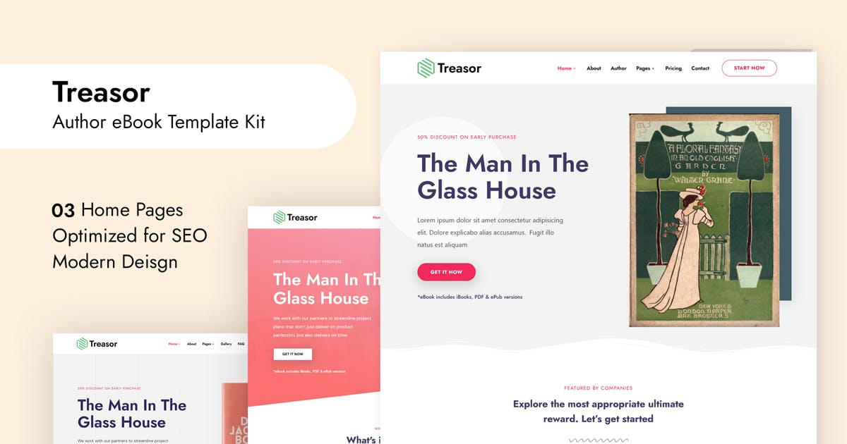 Download Treasor - Author eBook Elementor Template Kit by DreamBuzz