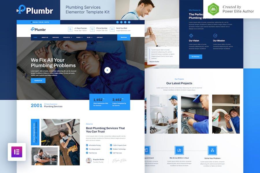 Plumbr — Template Kit gabarits élémentor des services de plomberie
