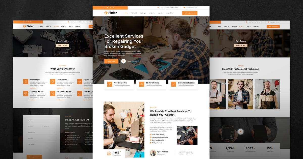 Download Fixier – Gadgets & Electronics Repair Services Elementor Template Kit by jegtheme