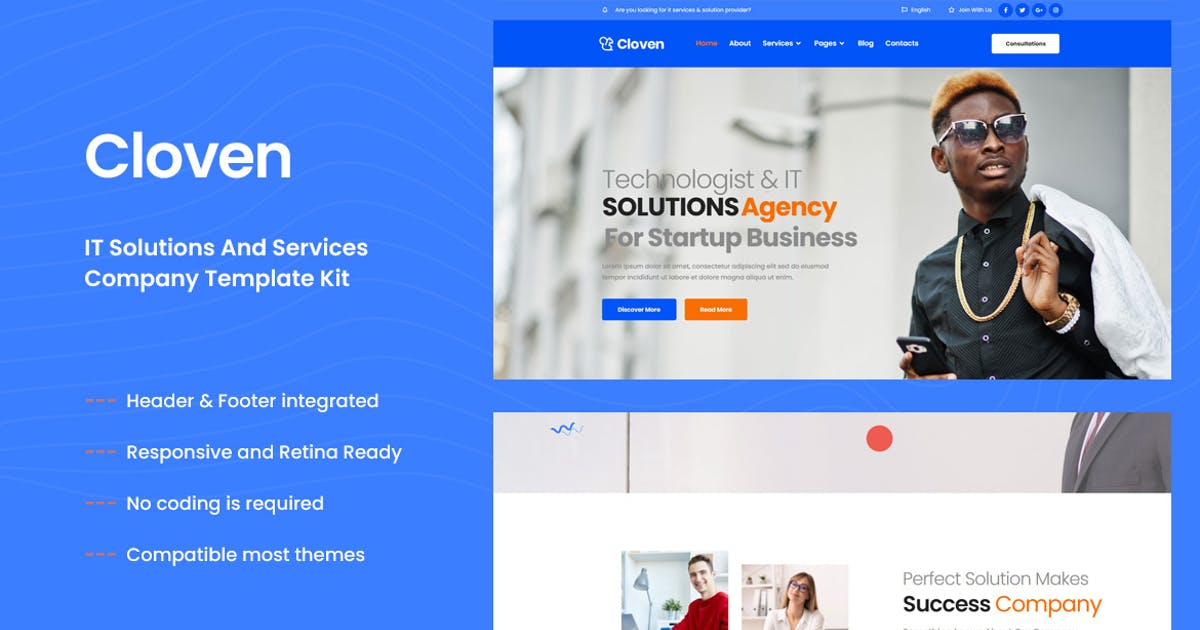 Download Cloven - IT Solutions &Services Company Elementor Template Kit by themesflat