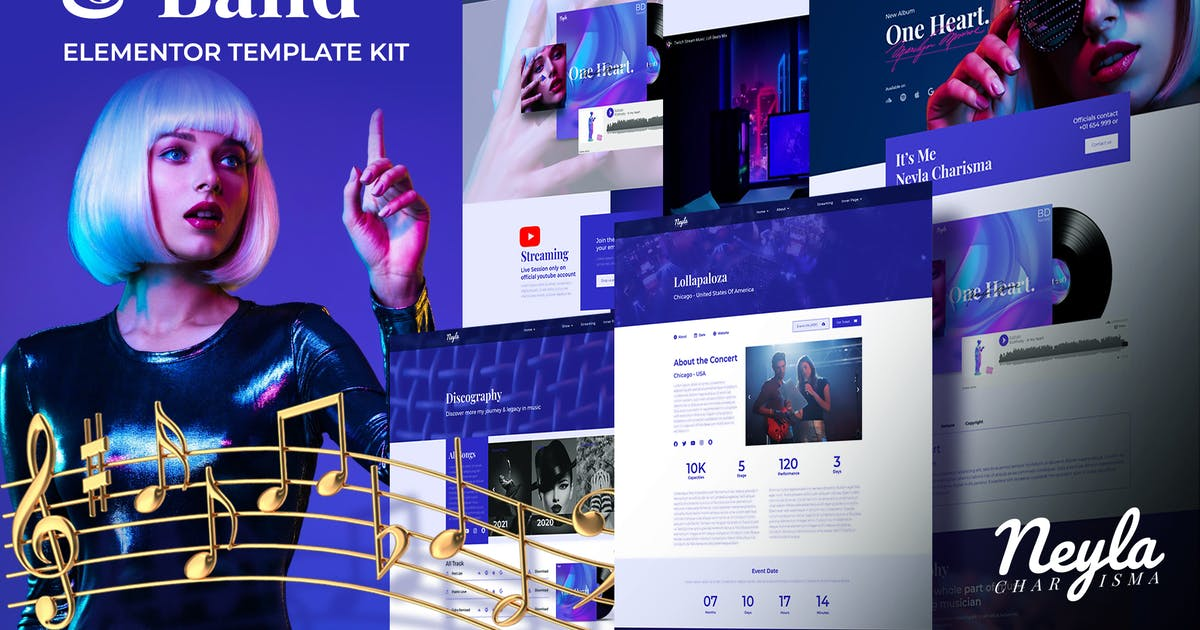 Download Neyla - Musician & Band Elementor Template Kit by Balibilly_Design