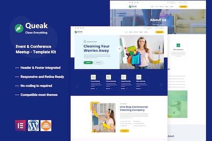 Queak - Template Kit Elementor de Servicio de Limpieza