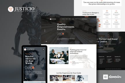 Justicio - Law Firm & Attorney Elementor Template Kit