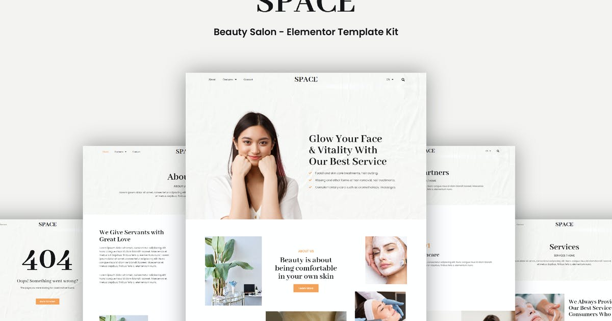 Download Space - Beauty Salon Elementor Template Kit by portocraft