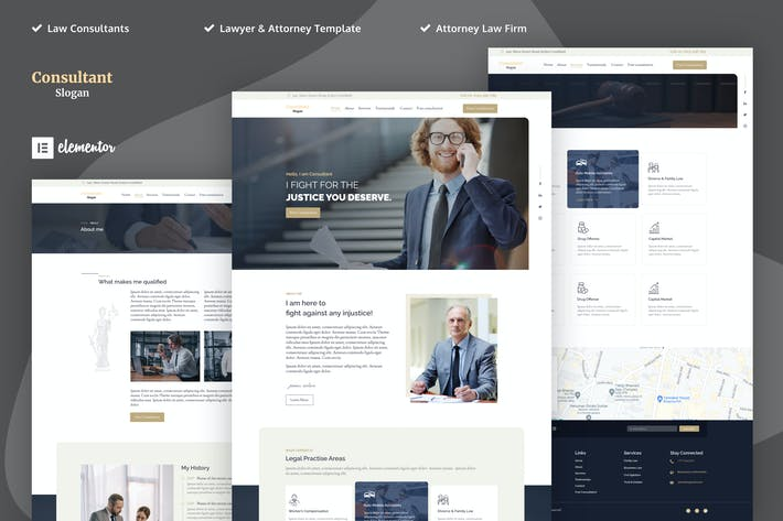 Berater - Anwalt & Attorney Elementor Template Kits