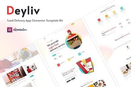 Deyliv - App-Elementor-Vorlagenset Template Kit Lebensmittellieferung