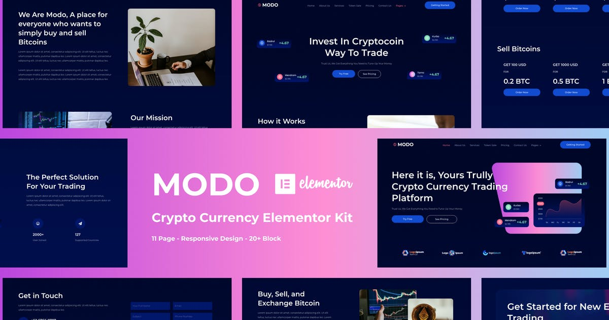 Download MODO - Crypto Currency Elementor Template Kit by Stefaniletter