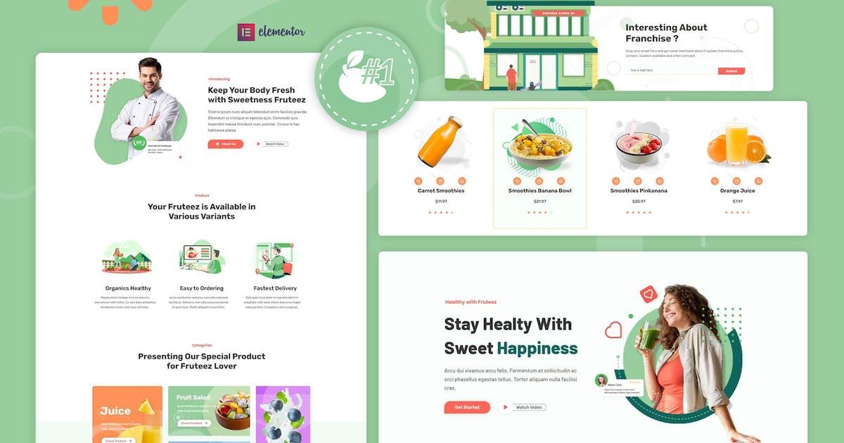 Download Fruteez - Healthy Food & Drinks Brand Elementor Template Kit by Rometheme