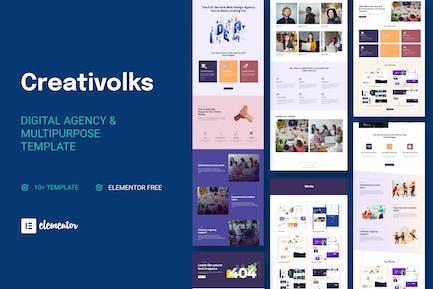 Creativolks - Kreativ- und Business-Agentur Elementor Template Kit