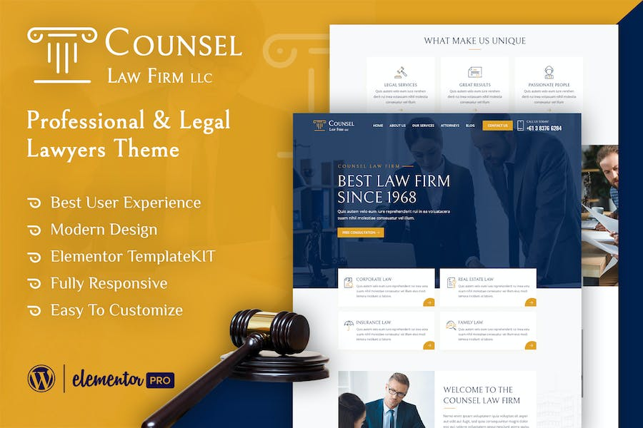 Counsel - Law Firm Elementor Template Kit