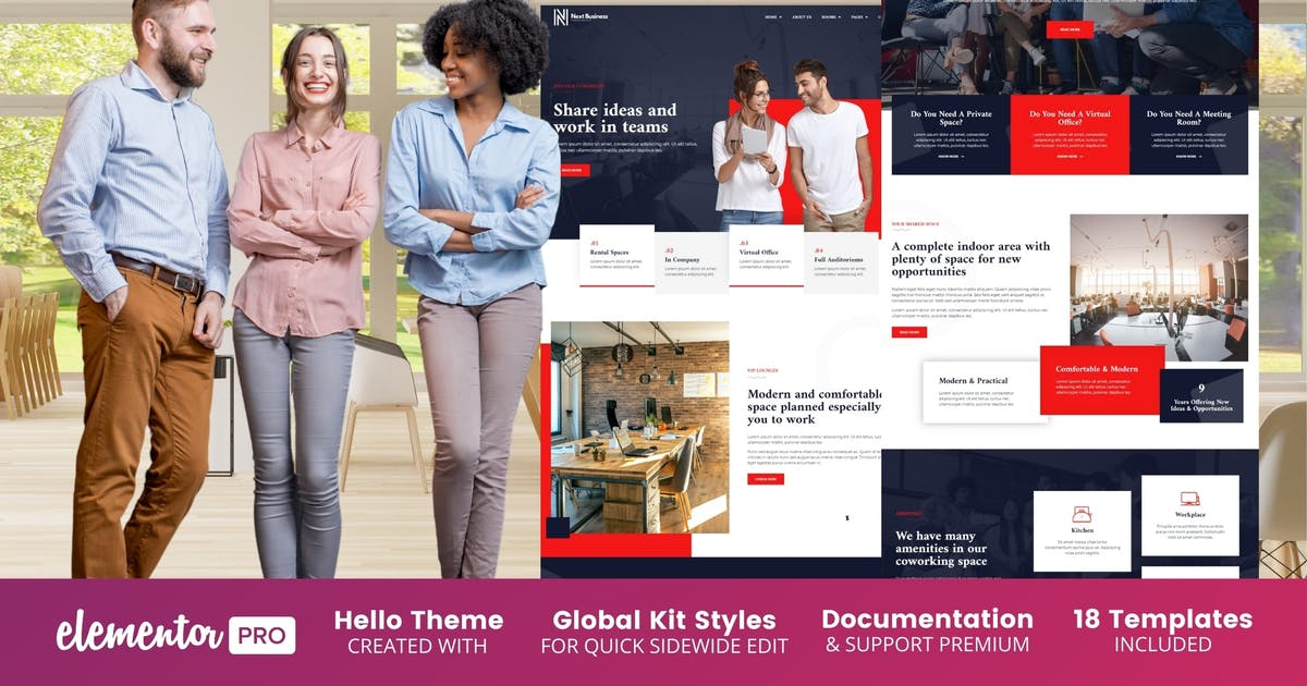 Download Next Business - Coworking Space Elementor Template Kit by BimberOnline