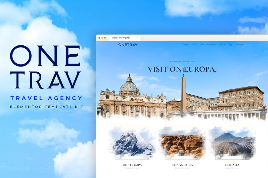 Onetrav - Template Kit Elementor para Agencia de viajes