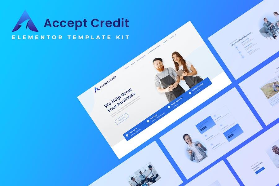 Aceptar crédito - Kit de plantillas Elementor de servicios financieros