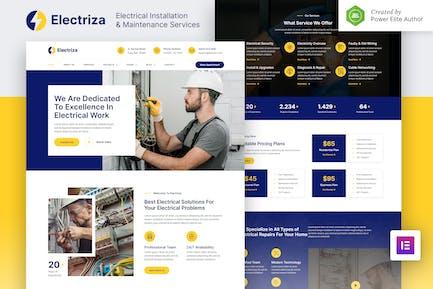 Electriza — Elektroinstallations- und Wartungsdienste Elementor Template Kit