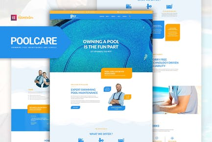 Poolcare - Schwimmbad Service & Wartung Elementor Template Kit