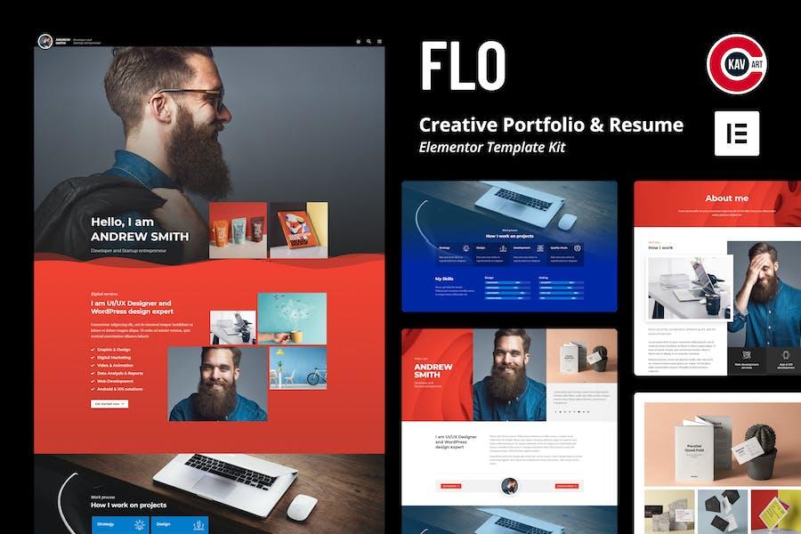 FLO - Kit de Plantilla Porfolio Creativa y Curriculum