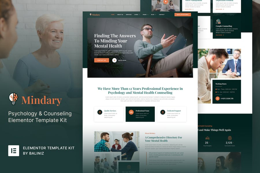 Mindary – Psychology & Counseling Elementor Template Kit
