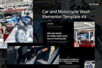 Esreb - Car & Motorcycle Wash Elementor Template Kit
