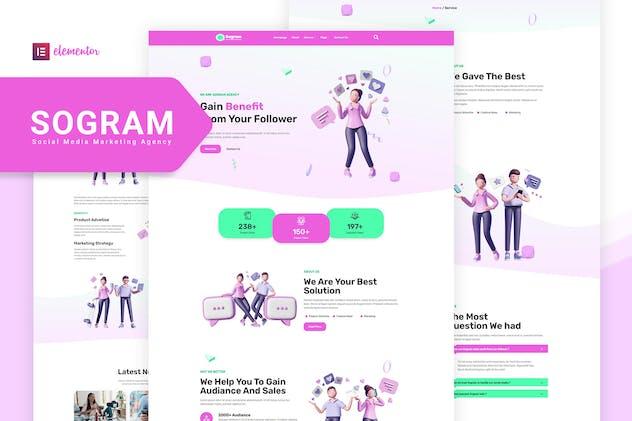 Sogram - Social Media Marketing Agency Elementor Template Kit