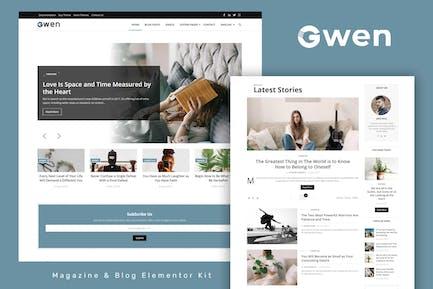 Gwen - Blog & Magazine Elementor Template Kit