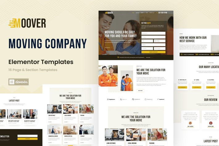 Moover - Moving Company Website Elementor Template Kit