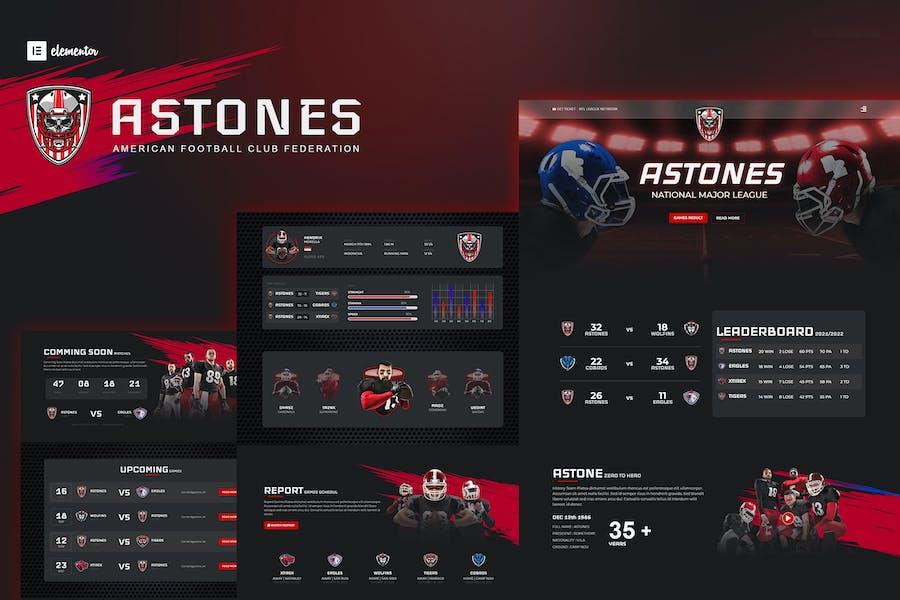 Astones - American Football Team & Sports Elementor Template Kit