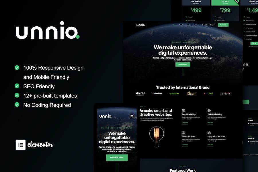 Unniq - Dark Digital Creative Agency Elementor Template Kit
