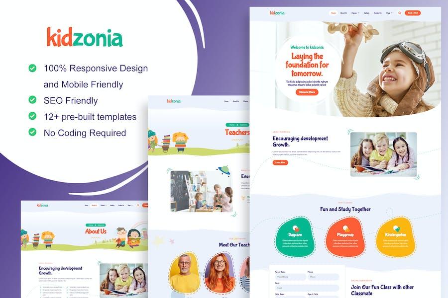 Kidzonia - Template Kit Elementor para jardín de infantes y cuidado infantil
